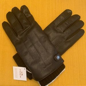 NWT Coach New York Leather & Cashmere Men's Gloves